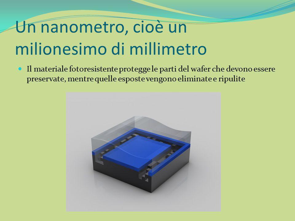 Un nanometro, cioè un milionesimo di millimetro Il materiale fotoresistente protegge le parti del wafer che devono essere preservate, mentre quelle es