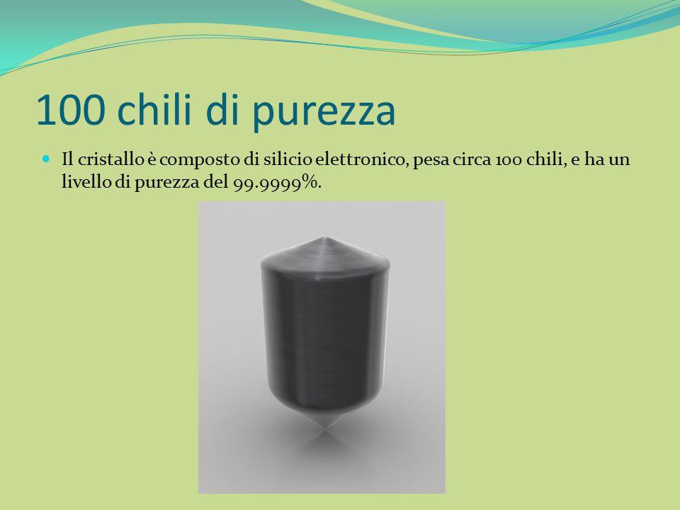 100 chili di purezza L ingot successivamente viene affettato per ottenere i sottili dischi di silicio chiamati wafer.