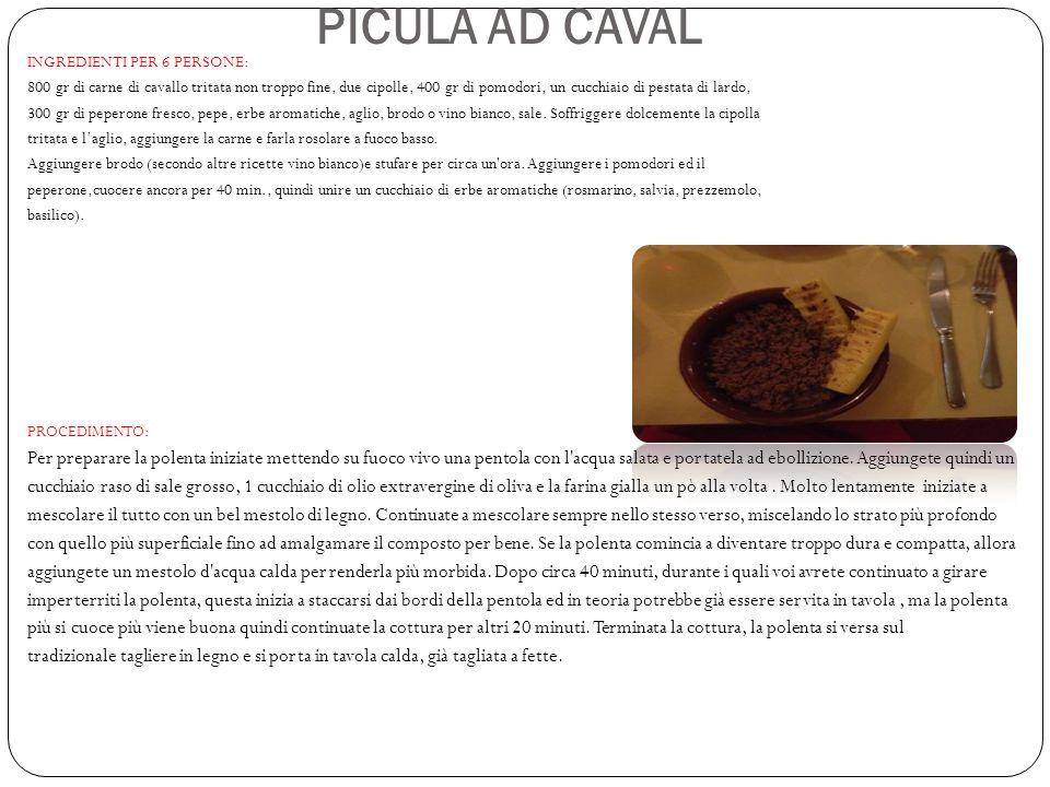 PICULA AD CAVAL INGREDIENTI PER 6 PERSONE: 800 gr di carne di cavallo tritata non troppo fine, due cipolle, 400 gr di pomodori, un cucchiaio di pestat
