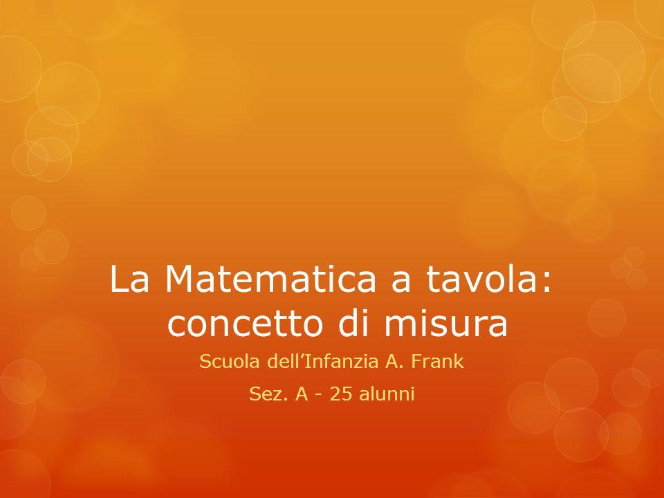 La Matematica a tavola: concetto di misura Scuola dell'Infanzia A. Frank Sez. A - 25 alunni