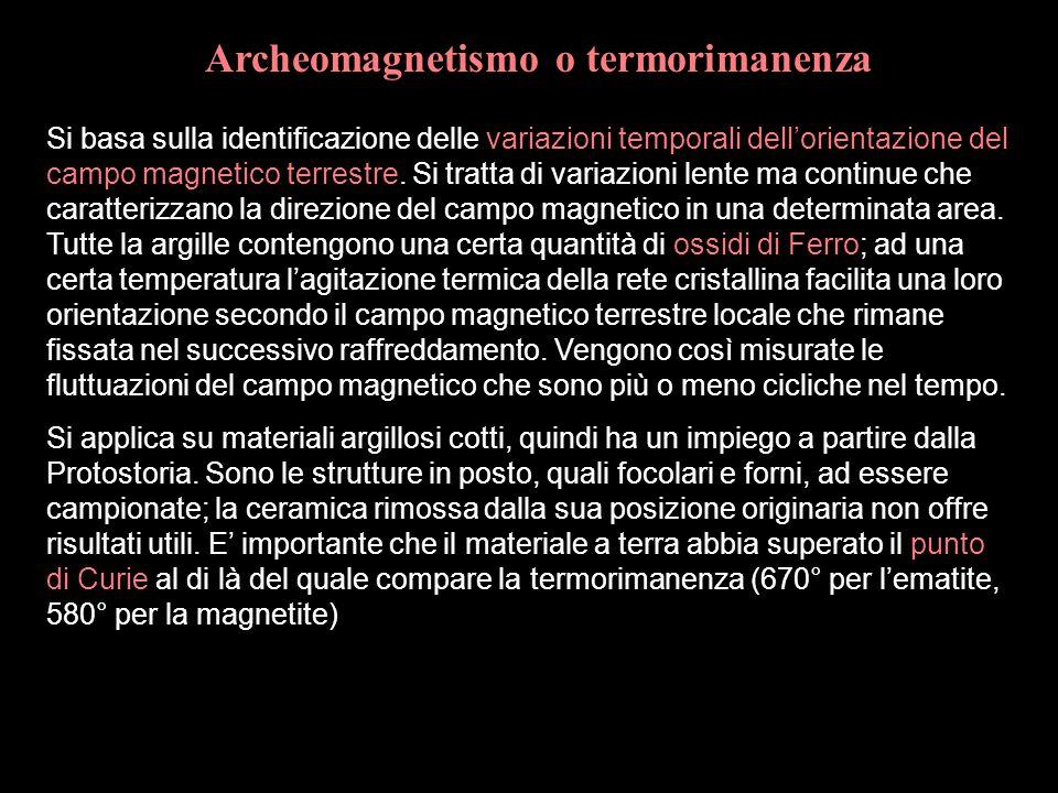 Archeomagnetismo o termorimanenza Si basa sulla identificazione delle variazioni temporali dell'orientazione del campo magnetico terrestre. Si tratta