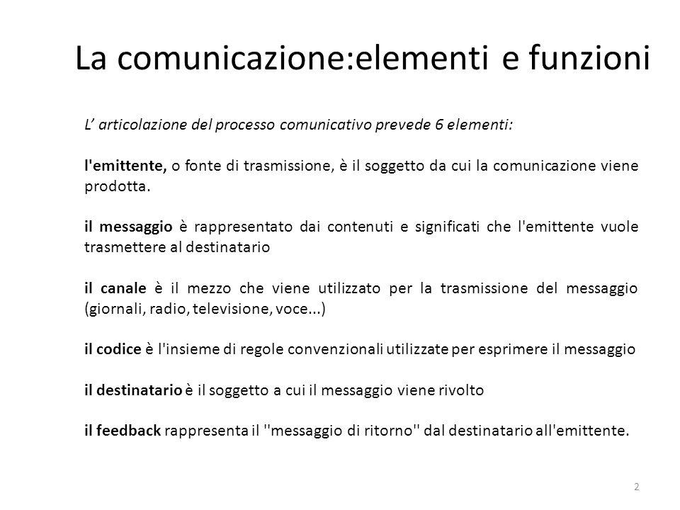 2 La comunicazione:elementi e funzioni L' articolazione del processo comunicativo prevede 6 elementi: l emittente, o fonte di trasmissione, è il soggetto da cui la comunicazione viene prodotta.