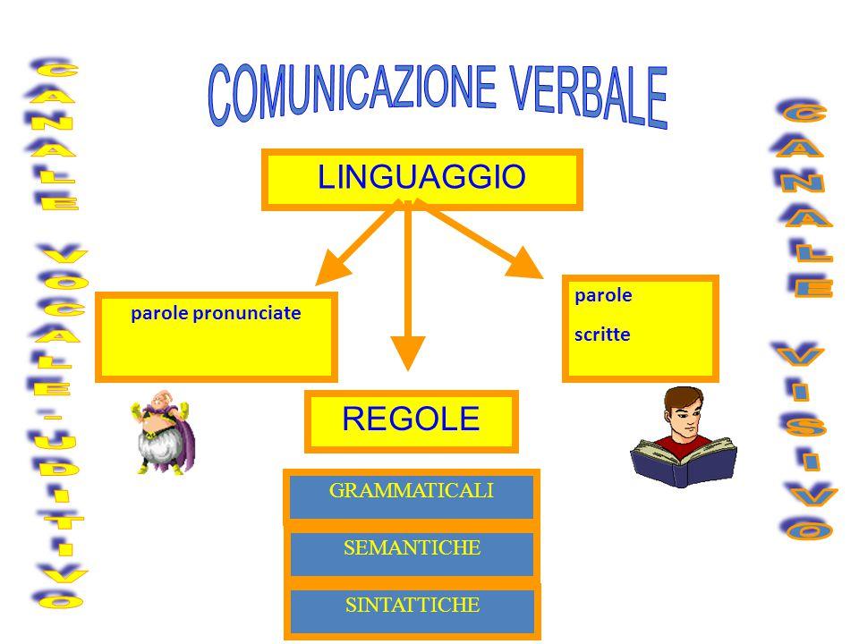 LINGUAGGIO parole pronunciate parole scritte REGOLE GRAMMATICALI SINTATTICHE SEMANTICHE