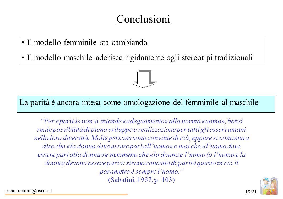 irene.biemmi@tiscali.it 19/21 Conclusioni Il modello femminile sta cambiando Il modello maschile aderisce rigidamente agli stereotipi tradizionali La