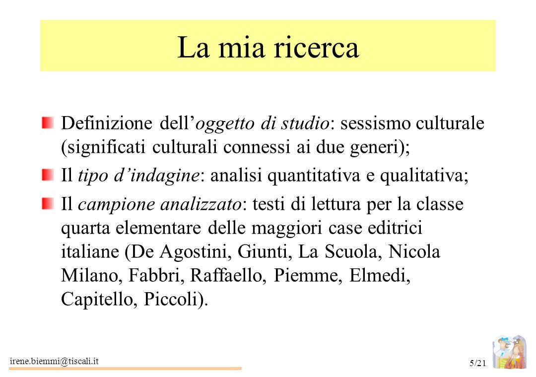 irene.biemmi@tiscali.it 5/21 La mia ricerca Definizione dell'oggetto di studio: sessismo culturale (significati culturali connessi ai due generi); Il