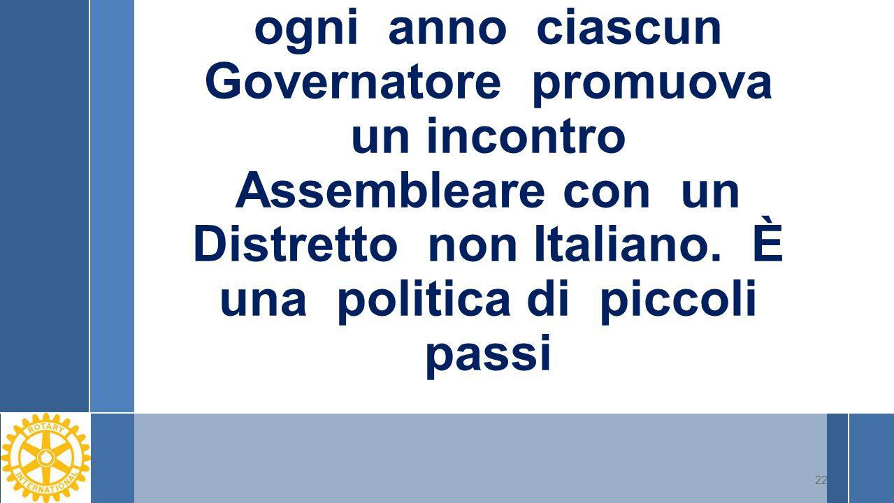 ogni anno ciascun Governatore promuova un incontro Assembleare con un Distretto non Italiano. È una politica di piccoli passi 22