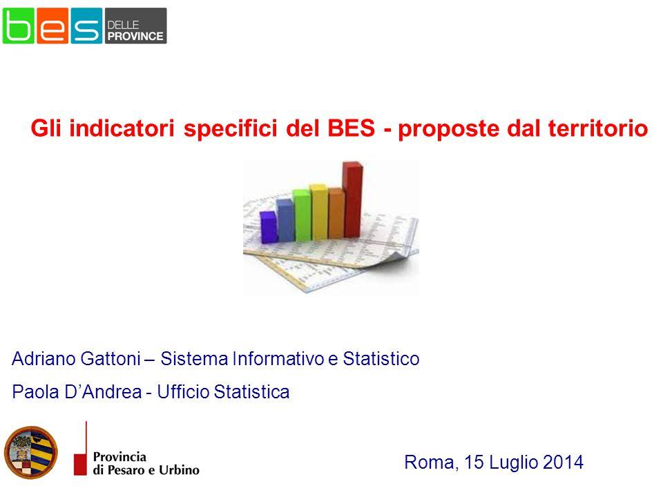 Adriano Gattoni – Sistema Informativo e Statistico Paola D'Andrea - Ufficio Statistica Roma, 15 Luglio 2014 Gli indicatori specifici del BES - proposte dal territorio