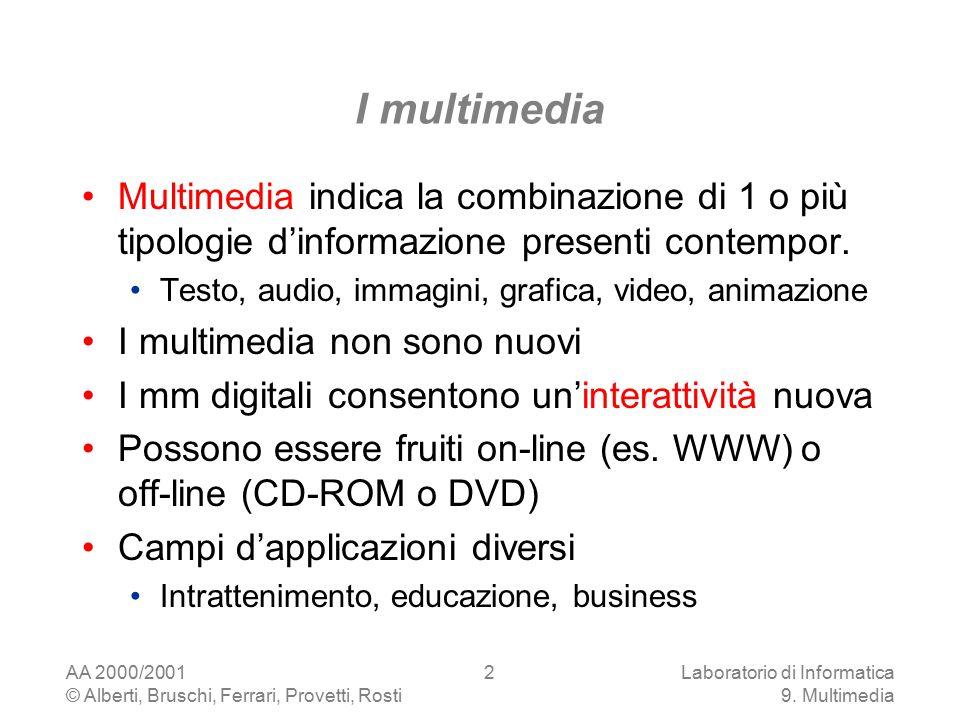 AA 2000/2001 © Alberti, Bruschi, Ferrari, Provetti, Rosti Laboratorio di Informatica 9. Multimedia 2 I multimedia Multimedia indica la combinazione di