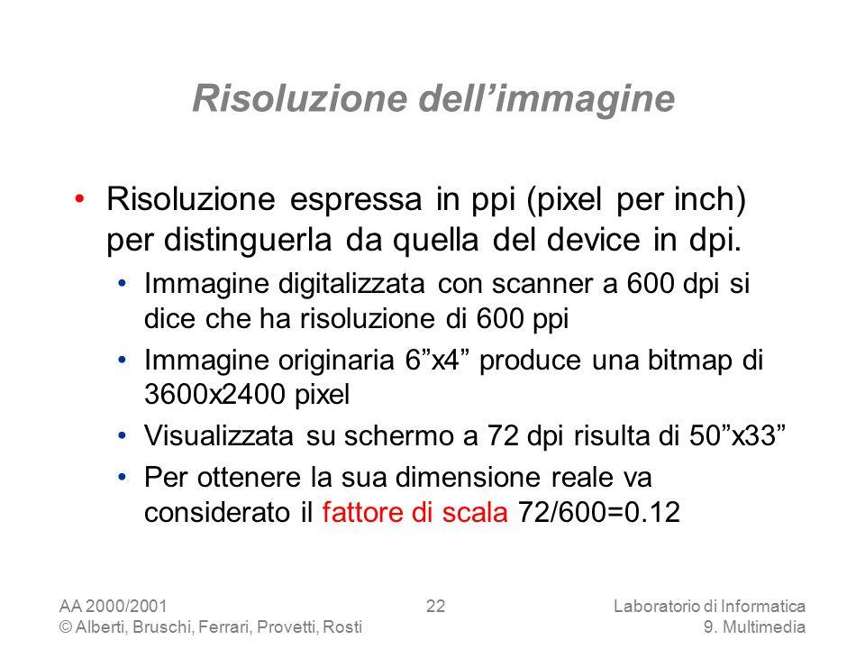 AA 2000/2001 © Alberti, Bruschi, Ferrari, Provetti, Rosti Laboratorio di Informatica 9. Multimedia 22 Risoluzione dell'immagine Risoluzione espressa i