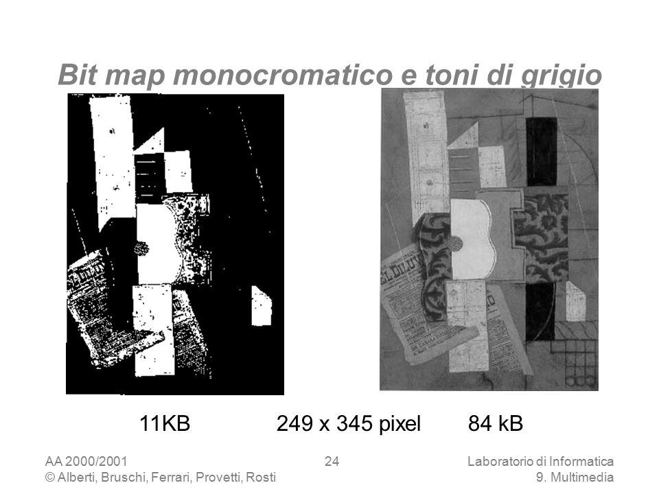 AA 2000/2001 © Alberti, Bruschi, Ferrari, Provetti, Rosti Laboratorio di Informatica 9. Multimedia 24 Bit map monocromatico e toni di grigio 11KB 249