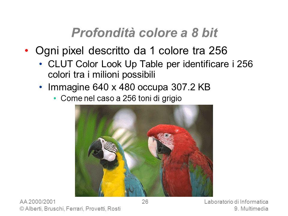 AA 2000/2001 © Alberti, Bruschi, Ferrari, Provetti, Rosti Laboratorio di Informatica 9. Multimedia 26 Profondità colore a 8 bit Ogni pixel descritto d
