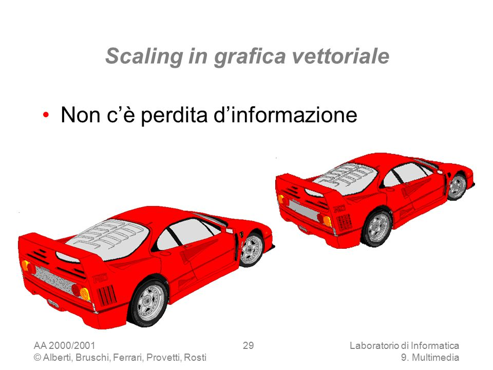 AA 2000/2001 © Alberti, Bruschi, Ferrari, Provetti, Rosti Laboratorio di Informatica 9. Multimedia 29 Scaling in grafica vettoriale Non c'è perdita d'