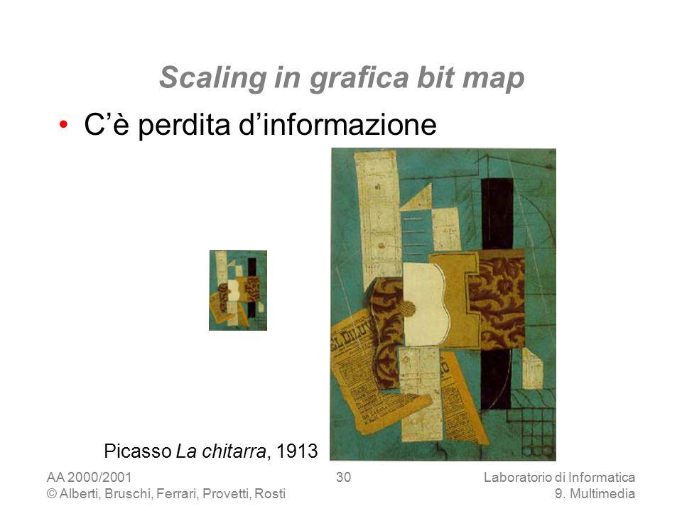 AA 2000/2001 © Alberti, Bruschi, Ferrari, Provetti, Rosti Laboratorio di Informatica 9. Multimedia 30 Scaling in grafica bit map C'è perdita d'informa