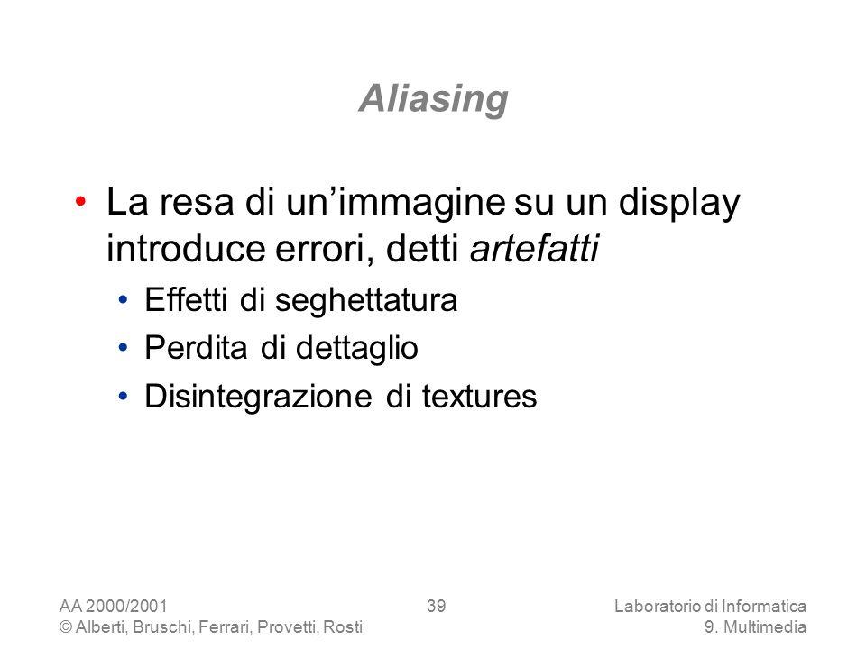 AA 2000/2001 © Alberti, Bruschi, Ferrari, Provetti, Rosti Laboratorio di Informatica 9. Multimedia 39 Aliasing La resa di un'immagine su un display in