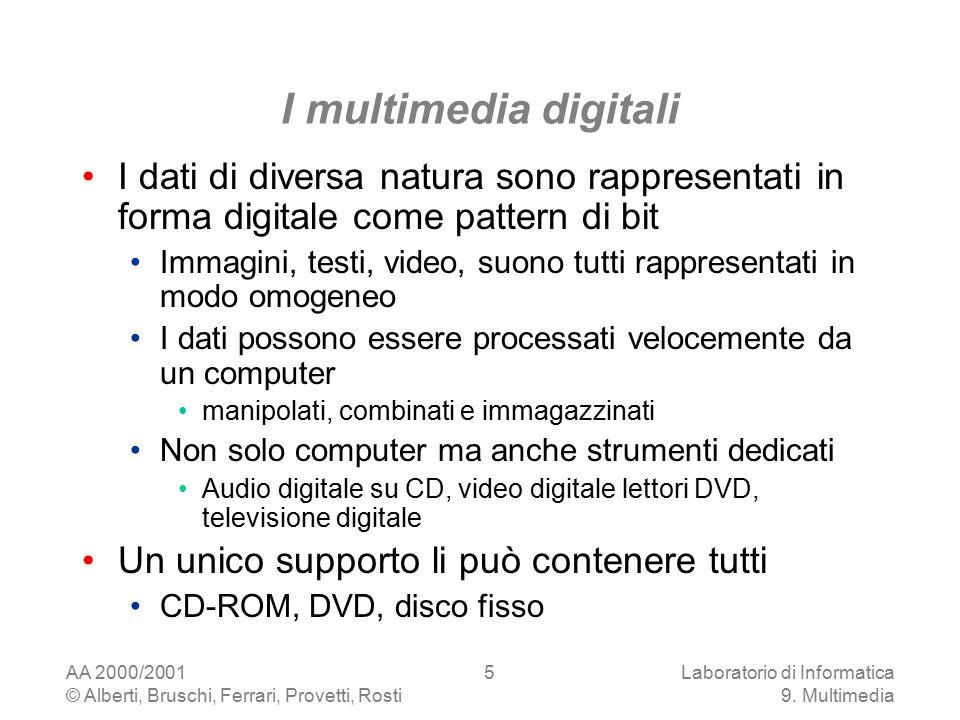 AA 2000/2001 © Alberti, Bruschi, Ferrari, Provetti, Rosti Laboratorio di Informatica 9. Multimedia 5 I multimedia digitali I dati di diversa natura so