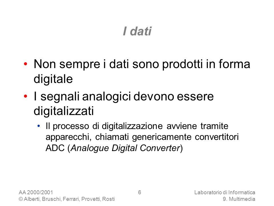 AA 2000/2001 © Alberti, Bruschi, Ferrari, Provetti, Rosti Laboratorio di Informatica 9. Multimedia 6 I dati Non sempre i dati sono prodotti in forma d
