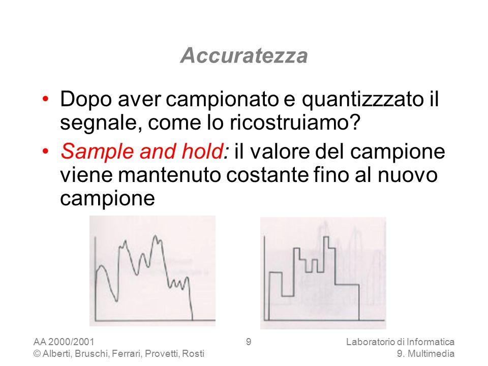 AA 2000/2001 © Alberti, Bruschi, Ferrari, Provetti, Rosti Laboratorio di Informatica 9. Multimedia 9 Accuratezza Dopo aver campionato e quantizzzato i