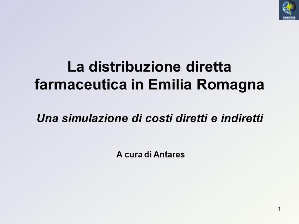 22 La distribuzione farmaceutica diretta in Emilia Romagna COSTI TOTALI – Secondo metodo (1) Basandosi sul numero di pezzi determinati col secondo metodo, la media delle Asl considerate dà un costo totale a pezzo di 8,5 € contro i 3,92 € (+ iva) riconosciuti come remunerazione alla DpC.