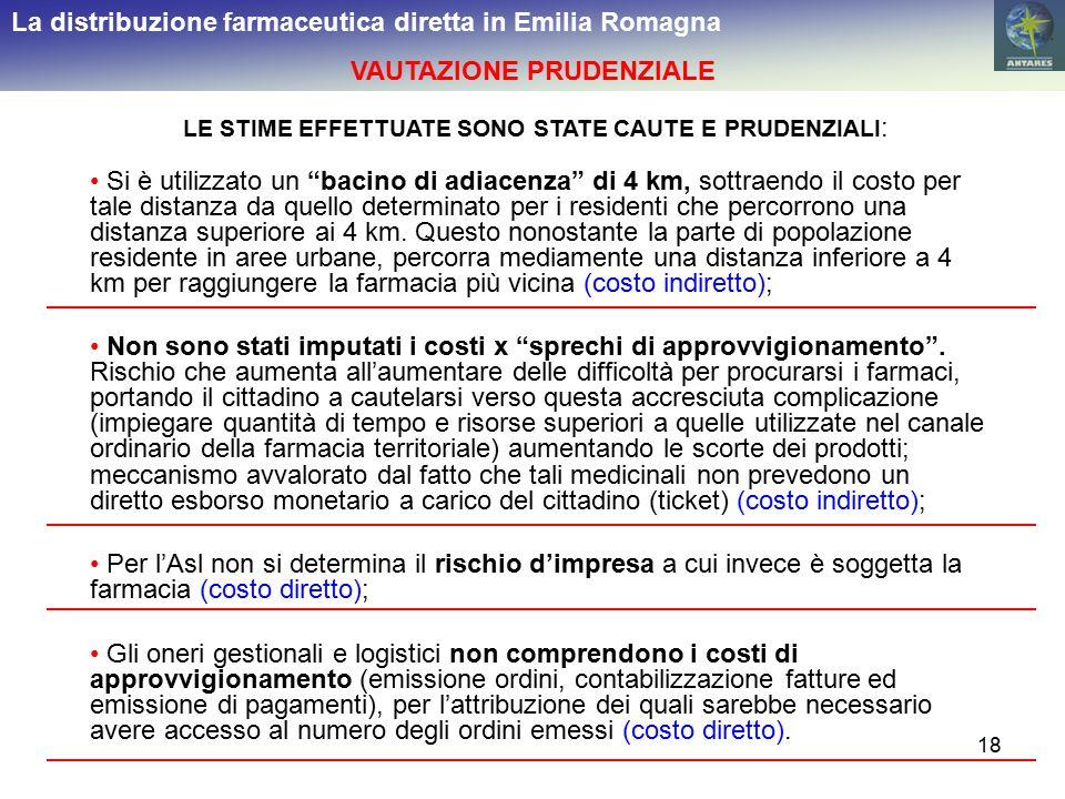 """18 La distribuzione farmaceutica diretta in Emilia Romagna VAUTAZIONE PRUDENZIALE Si è utilizzato un """"bacino di adiacenza"""" di 4 km, sottraendo il cost"""