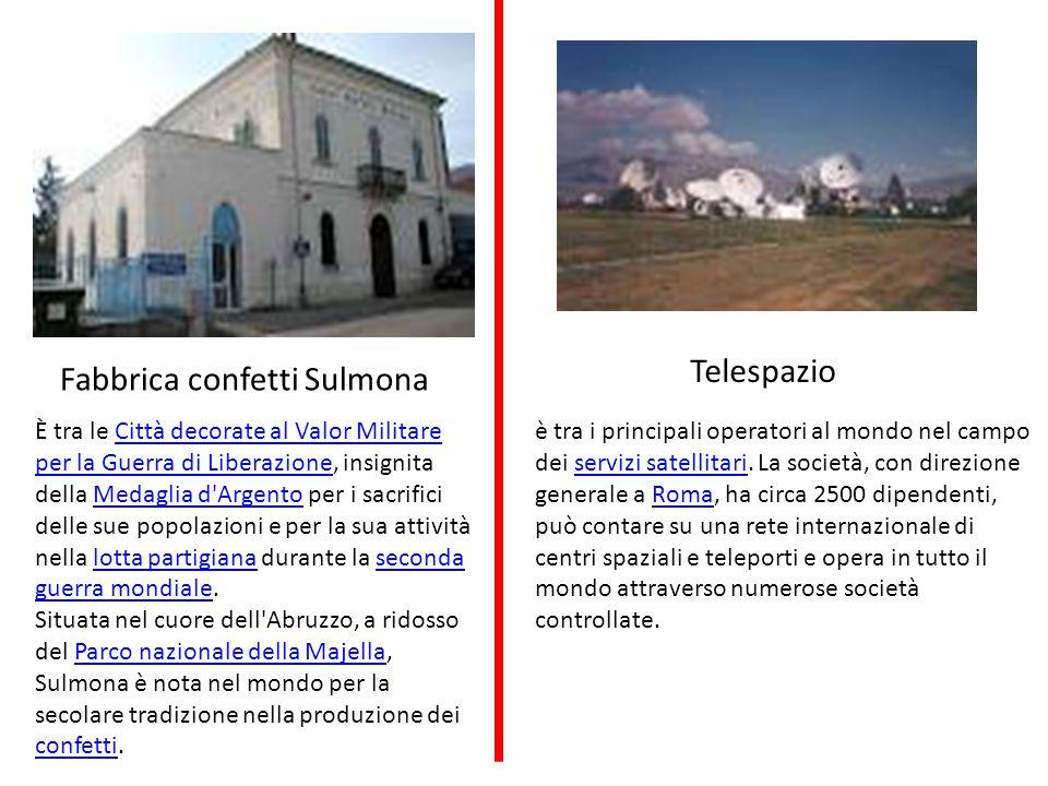 Fabbrica confetti Sulmona Telespazio è tra i principali operatori al mondo nel campo dei servizi satellitari.
