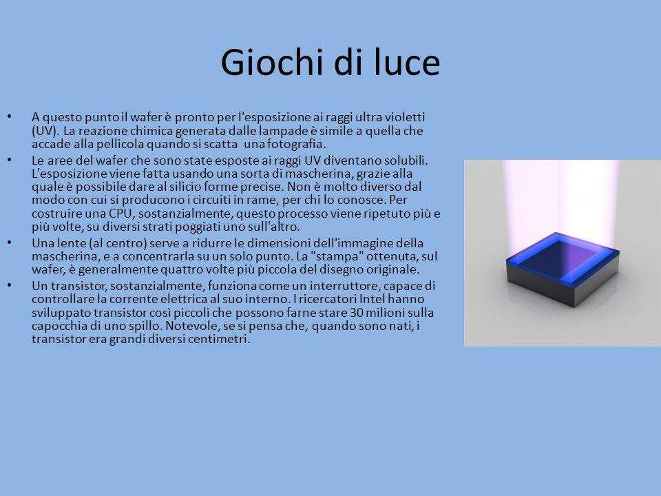 Giochi di luce A questo punto il wafer è pronto per l'esposizione ai raggi ultra violetti (UV). La reazione chimica generata dalle lampade è simile a