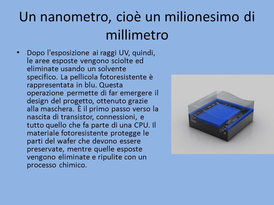 Un nanometro, cioè un milionesimo di millimetro Dopo l'esposizione ai raggi UV, quindi, le aree esposte vengono sciolte ed eliminate usando un solvent
