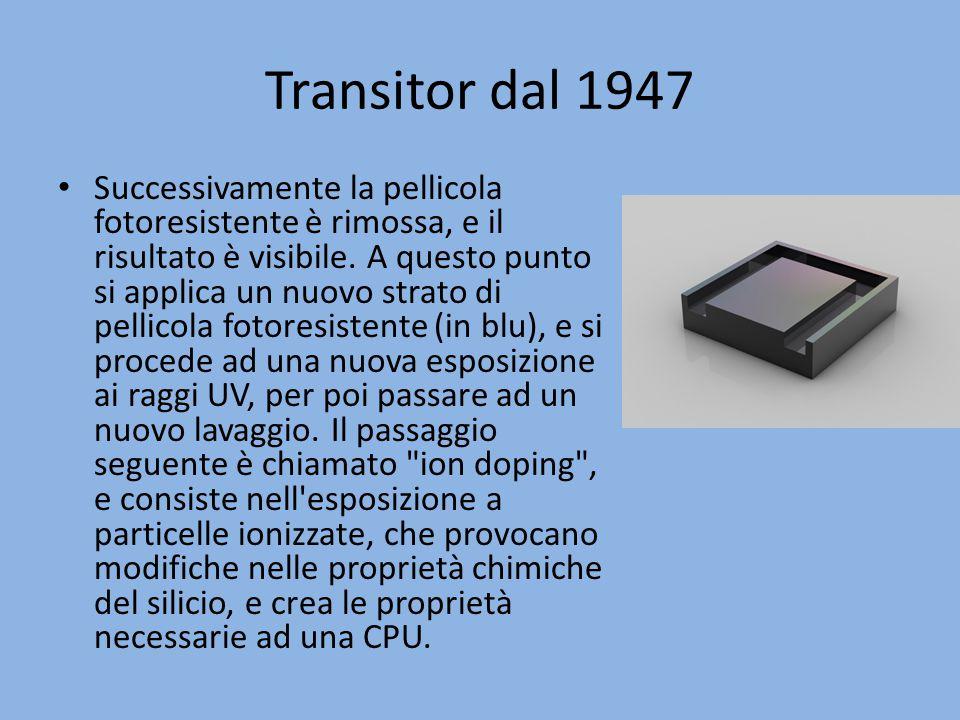 Transitor dal 1947 Successivamente la pellicola fotoresistente è rimossa, e il risultato è visibile. A questo punto si applica un nuovo strato di pell