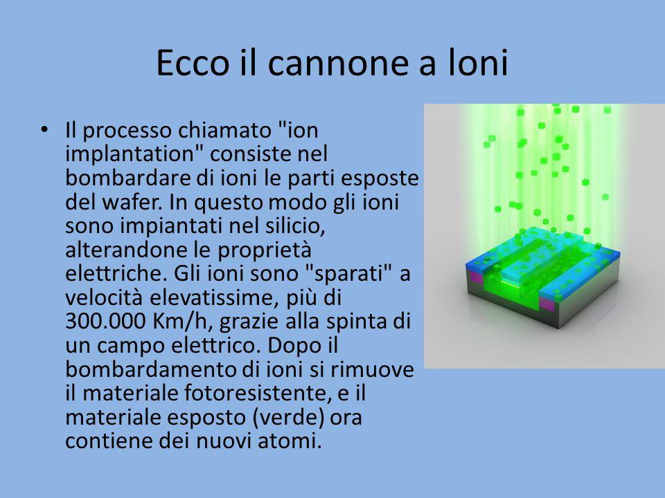 Ecco il cannone a loni Il processo chiamato ion implantation consiste nel bombardare di ioni le parti esposte del wafer.
