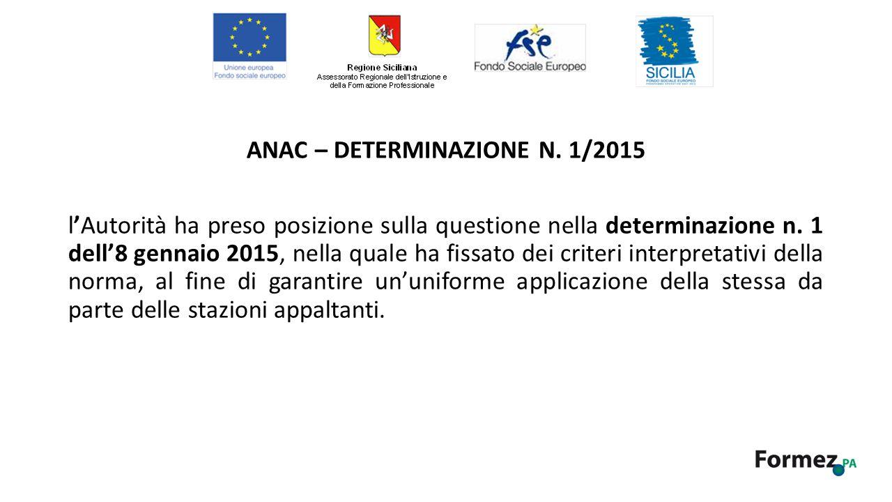 ANAC – DETERMINAZIONE N.
