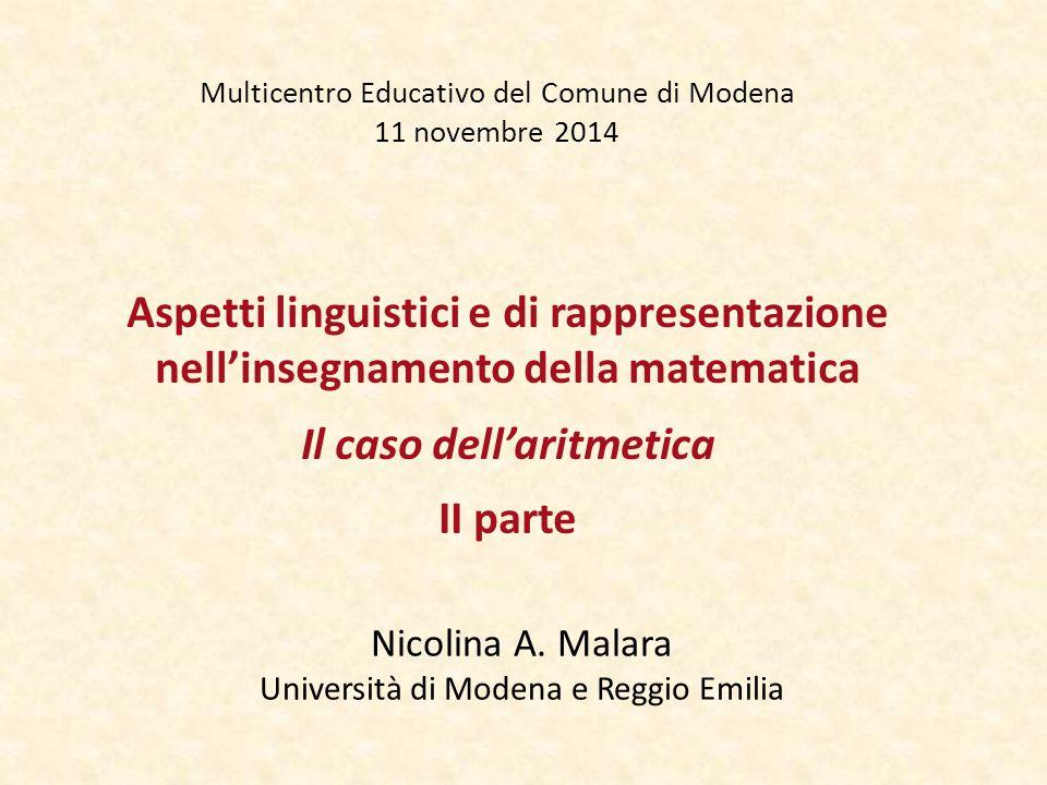 Multicentro Educativo del Comune di Modena 11 novembre 2014 Nicolina A. Malara Università di Modena e Reggio Emilia Aspetti linguistici e di rappresen