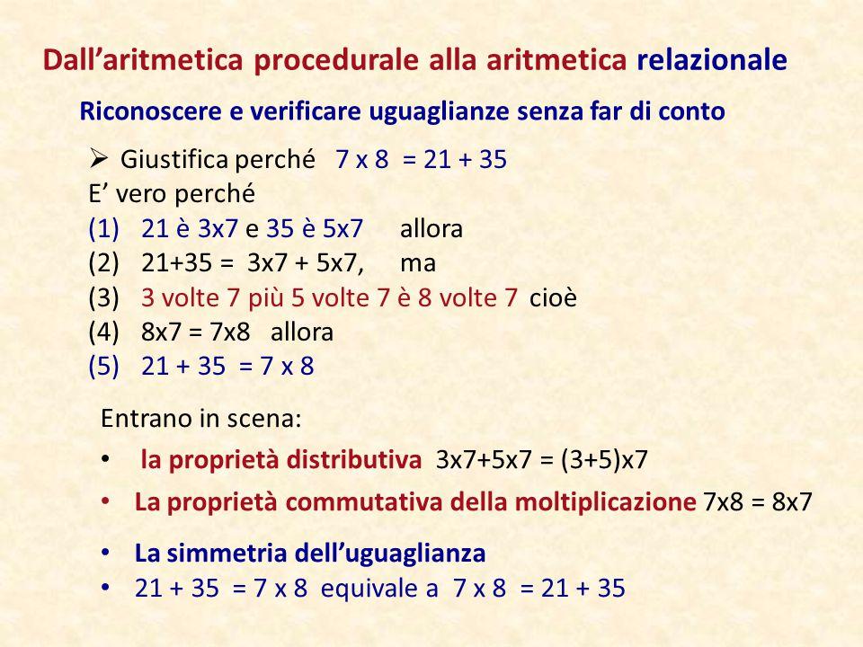 Dall'aritmetica procedurale alla aritmetica relazionale Riconoscere e verificare uguaglianze senza far di conto  Giustifica perché 7 x 8 = 21 + 35 E'