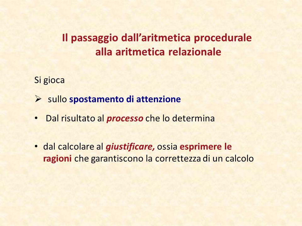 Il passaggio dall'aritmetica procedurale alla aritmetica relazionale Si gioca  sullo spostamento di attenzione Dal risultato al processo che lo determina dal calcolare al giustificare, ossia esprimere le ragioni che garantiscono la correttezza di un calcolo