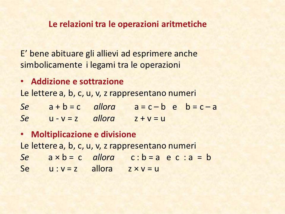 Le relazioni tra le operazioni aritmetiche E' bene abituare gli allievi ad esprimere anche simbolicamente i legami tra le operazioni Addizione e sottrazione Le lettere a, b, c, u, v, z rappresentano numeri Se a + b = c allora a = c – b e b = c – a Seu - v = z allora z + v = u Moltiplicazione e divisione Le lettere a, b, c, u, v, z rappresentano numeri Se a × b = c allora c : b = a e c : a = b Se u : v = z allora z × v = u