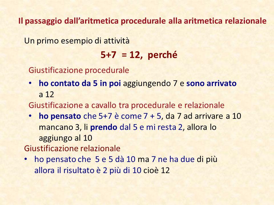 Il passaggio dall'aritmetica procedurale alla aritmetica relazionale Un primo esempio di attività 5+7 = 12, perché Giustificazione relazionale ho pensato che 5 e 5 dà 10 ma 7 ne ha due di più allora il risultato è 2 più di 10 cioè 12 Giustificazione a cavallo tra procedurale e relazionale ho pensato che 5+7 è come 7 + 5, da 7 ad arrivare a 10 mancano 3, li prendo dal 5 e mi resta 2, allora lo aggiungo al 10 Giustificazione procedurale ho contato da 5 in poi aggiungendo 7 e sono arrivato a 12