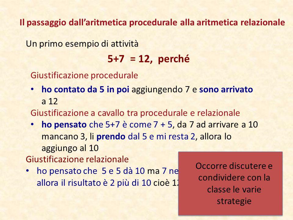 Il passaggio dall'aritmetica procedurale alla aritmetica relazionale Un primo esempio di attività 5+7 = 12, perché Giustificazione relazionale ho pensato che 5 e 5 dà 10 ma 7 ne ha due di più allora il risultato è 2 più di 10 cioè 12 Giustificazione a cavallo tra procedurale e relazionale ho pensato che 5+7 è come 7 + 5, da 7 ad arrivare a 10 mancano 3, li prendo dal 5 e mi resta 2, allora lo aggiungo al 10 Giustificazione procedurale ho contato da 5 in poi aggiungendo 7 e sono arrivato a 12 Occorre discutere e condividere con la classe le varie strategie