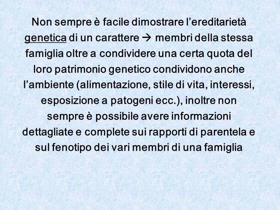 Non sempre è facile dimostrare l'ereditarietà genetica di un carattere  membri della stessa famiglia oltre a condividere una certa quota del loro pat