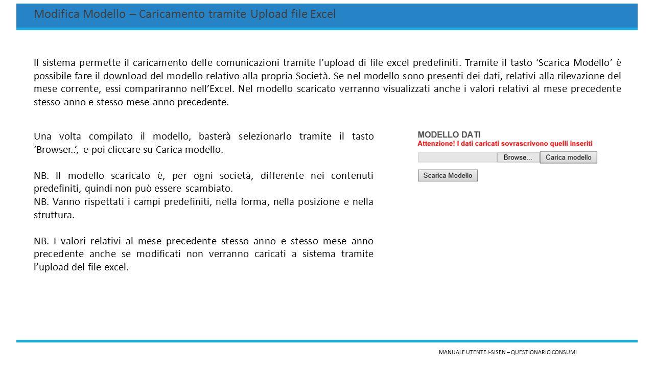 MANUALE UTENTE I-SISEN – QUESTIONARIO CONSUMI Modifica Modello – Caricamento tramite Upload file Excel Il sistema permette il caricamento delle comuni