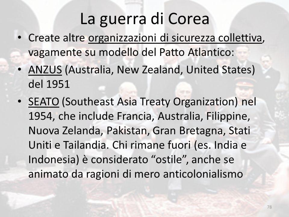 La guerra di Corea 78 Create altre organizzazioni di sicurezza collettiva, vagamente su modello del Patto Atlantico: ANZUS (Australia, New Zealand, Un