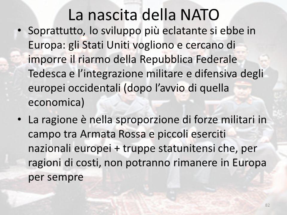 La nascita della NATO 82 Soprattutto, lo sviluppo più eclatante si ebbe in Europa: gli Stati Uniti vogliono e cercano di imporre il riarmo della Repub