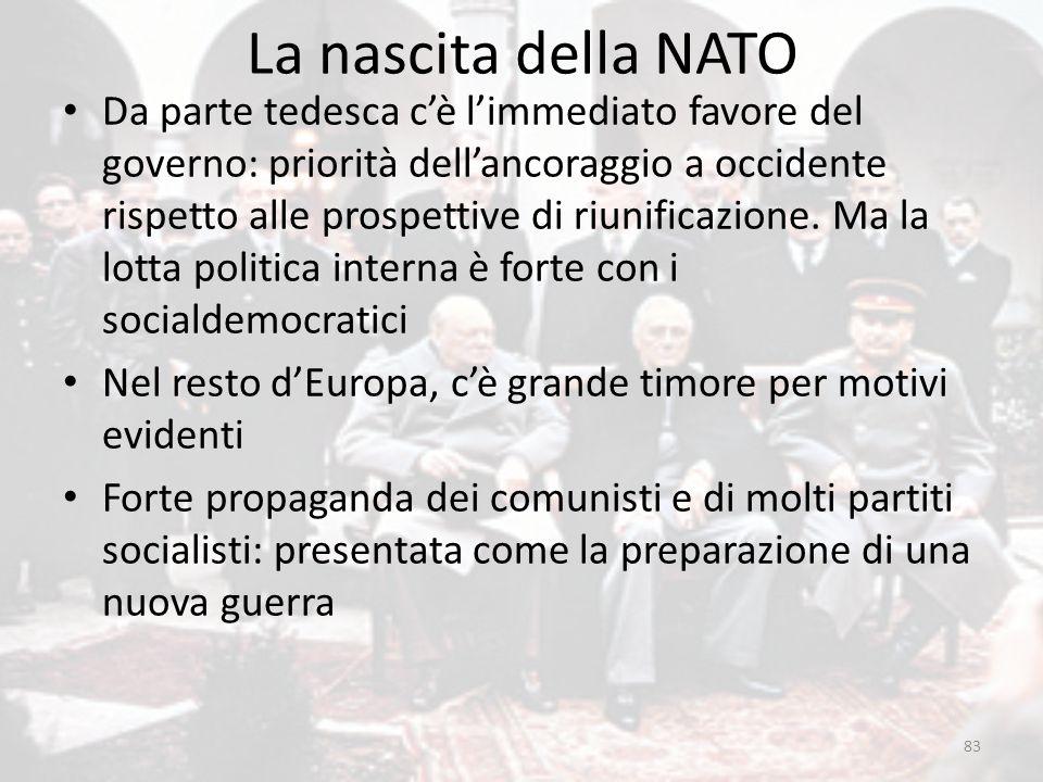 La nascita della NATO 83 Da parte tedesca c'è l'immediato favore del governo: priorità dell'ancoraggio a occidente rispetto alle prospettive di riunif