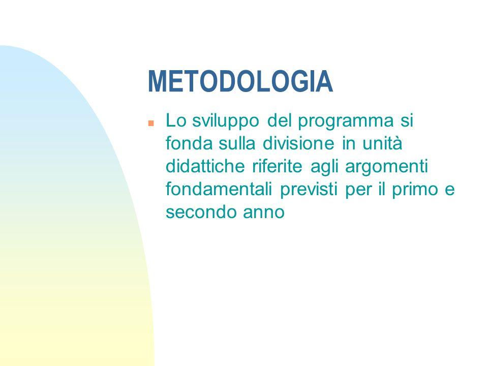 METODOLOGIA n Lo sviluppo del programma si fonda sulla divisione in unità didattiche riferite agli argomenti fondamentali previsti per il primo e secondo anno