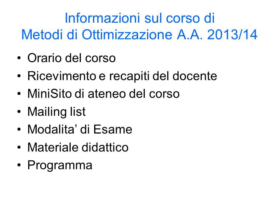 Informazioni sul corso di Metodi di Ottimizzazione A.A.
