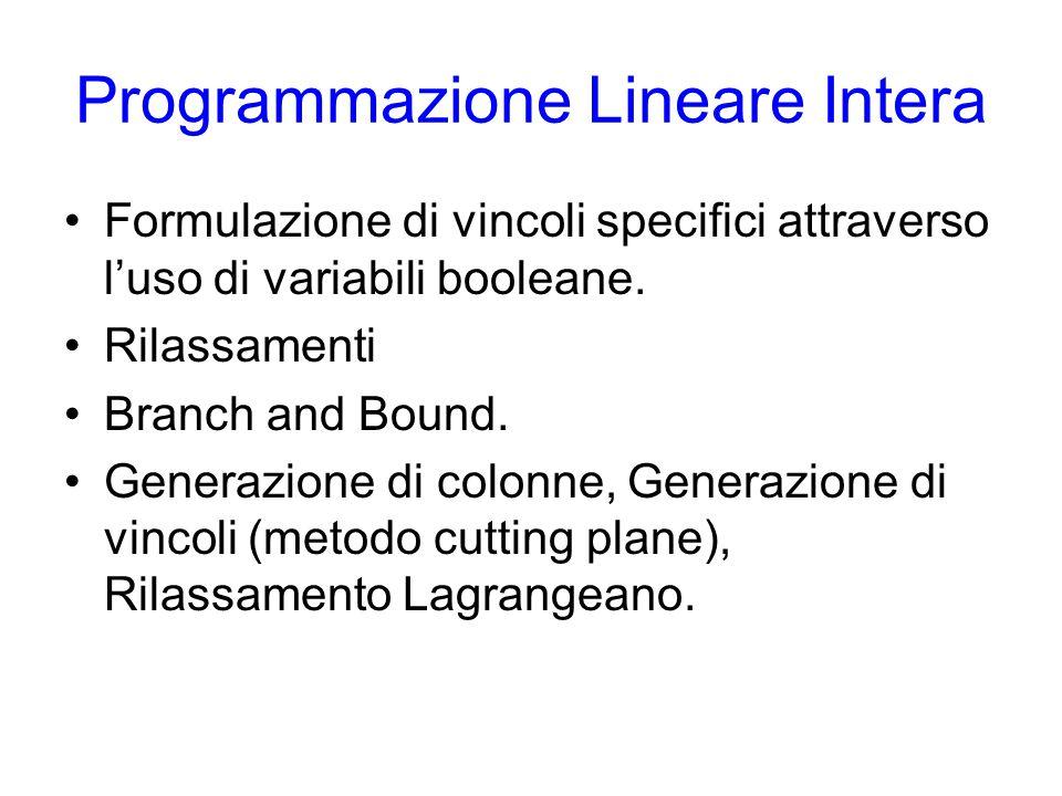 Programmazione Lineare Intera Formulazione di vincoli specifici attraverso l'uso di variabili booleane.