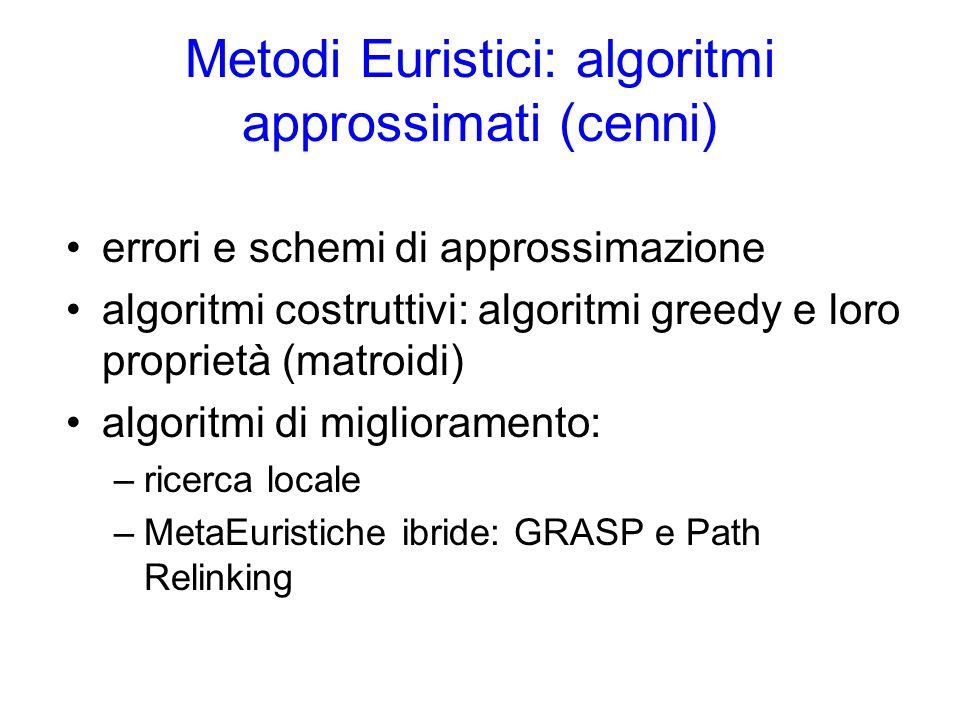 Metodi Euristici: algoritmi approssimati (cenni) errori e schemi di approssimazione algoritmi costruttivi: algoritmi greedy e loro proprietà (matroidi) algoritmi di miglioramento: –ricerca locale –MetaEuristiche ibride: GRASP e Path Relinking