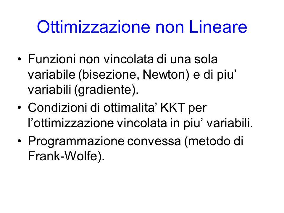 Ottimizzazione non Lineare Funzioni non vincolata di una sola variabile (bisezione, Newton) e di piu' variabili (gradiente).
