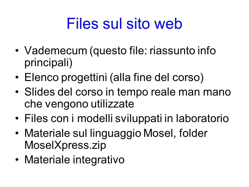 Files sul sito web Vademecum (questo file: riassunto info principali) Elenco progettini (alla fine del corso) Slides del corso in tempo reale man mano che vengono utilizzate Files con i modelli sviluppati in laboratorio Materiale sul linguaggio Mosel, folder MoselXpress.zip Materiale integrativo