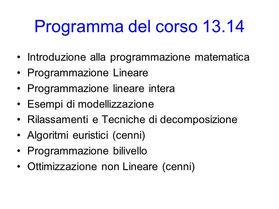 Introduzione alla programmazione matematica modelli di ottimizzazione: variabili, classi principali di vincoli e di funzioni obiettivo.