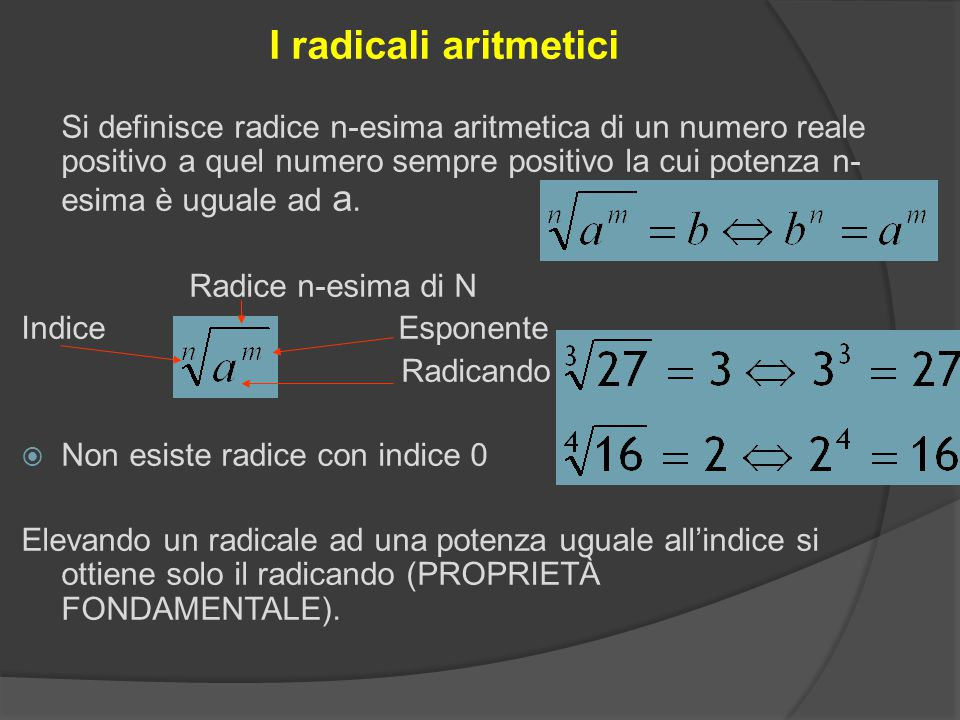 I radicali aritmetici Si definisce radice n-esima aritmetica di un numero reale positivo a quel numero sempre positivo la cui potenza n- esima è uguale ad a.