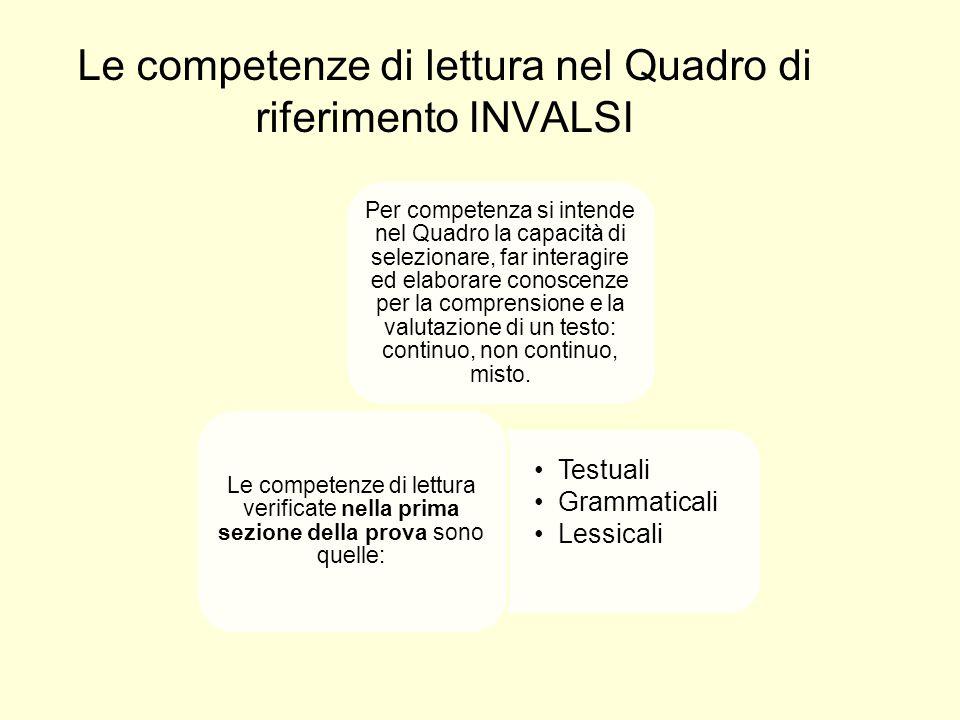 Le competenze di lettura nel Quadro di riferimento INVALSI Per competenza si intende nel Quadro la capacità di selezionare, far interagire ed elaborare conoscenze per la comprensione e la valutazione di un testo: continuo, non continuo, misto.