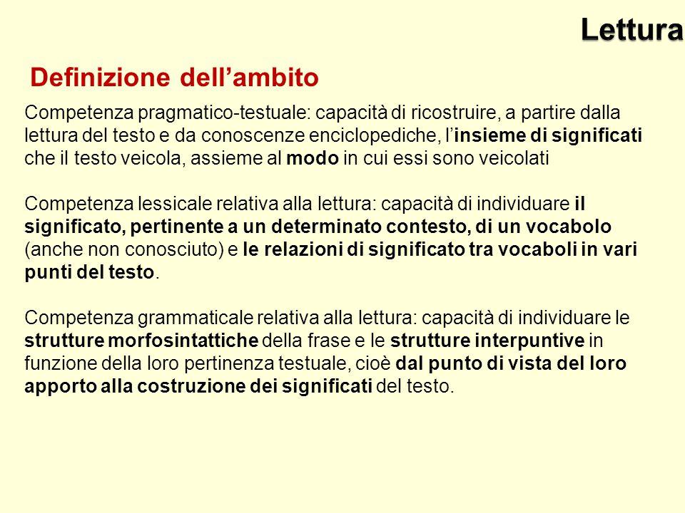 Competenza pragmatico-testuale: capacità di ricostruire, a partire dalla lettura del testo e da conoscenze enciclopediche, l'insieme di significati che il testo veicola, assieme al modo in cui essi sono veicolati Competenza lessicale relativa alla lettura: capacità di individuare il significato, pertinente a un determinato contesto, di un vocabolo (anche non conosciuto) e le relazioni di significato tra vocaboli in vari punti del testo.